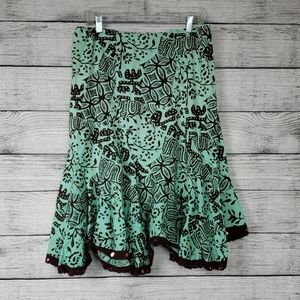 Angie Boho Mint And Brown Sparkle Skirt
